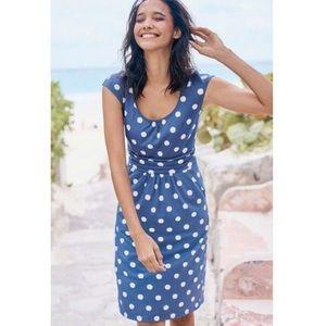 BODEN | 6L blue polka dot fitted dress cap 352